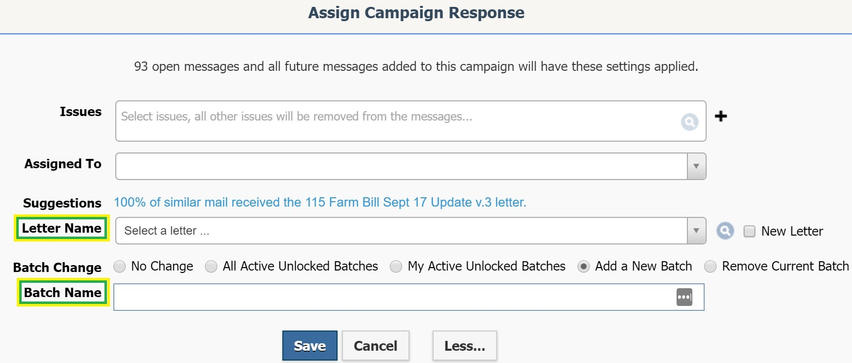 Assign Campaign Response